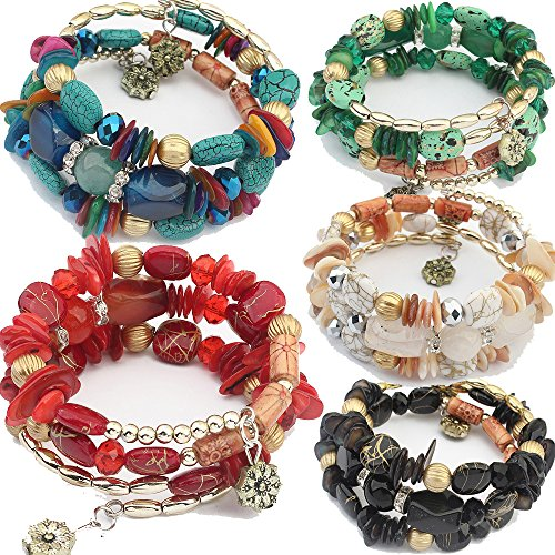 yunanwa 5 Pack Women Multilayer Bohemian Beaded Bracelet Crystal Pendant Charm Stretch Beach Bangle Bracelet Set Jewelry