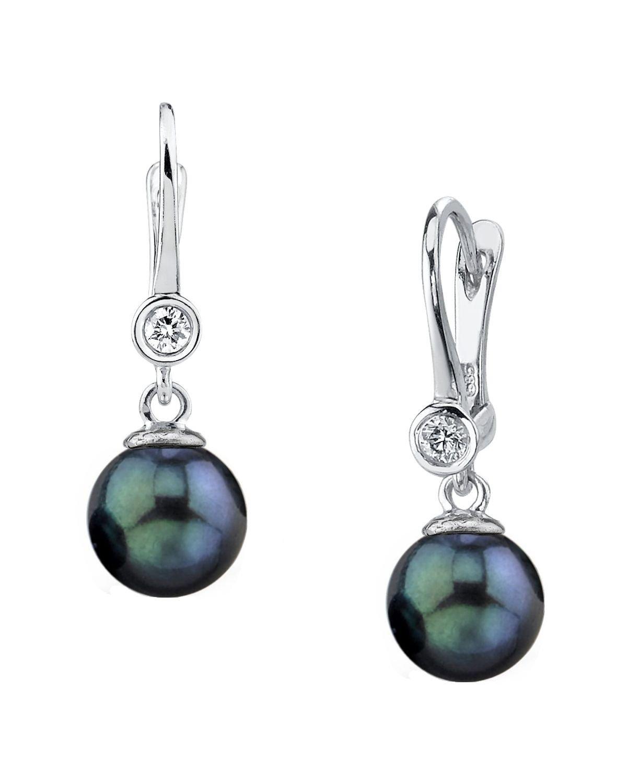 14K Gold Black Akoya Cultured Pearl & Diamond Michelle Earrings