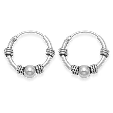 Sterling Silver Bali Hoop earrings, Ball & 4 wires - Size: 15mm 6208