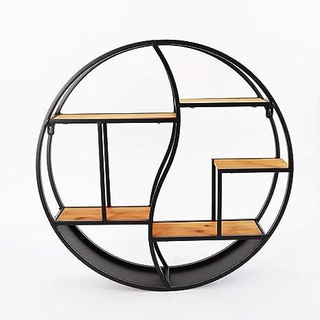 Dilibee Metall Regal Holz Runde Hängende Regal Dekorative