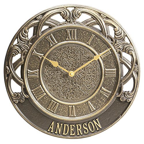 (Whitehall Personalized Chateau Indoor/Outdoor Custom Aluminum Round Wall Clock)