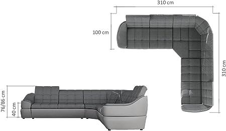 Sofá esquinero de 6 plazas, grande y de piel de imitación y tela, blanco y gris de Infinity