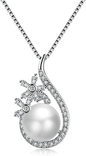 MoAndy Jewelry Silver Plated Women Necklace Chain Water Drop Pearl CZ Pendant White Length 45+5CM