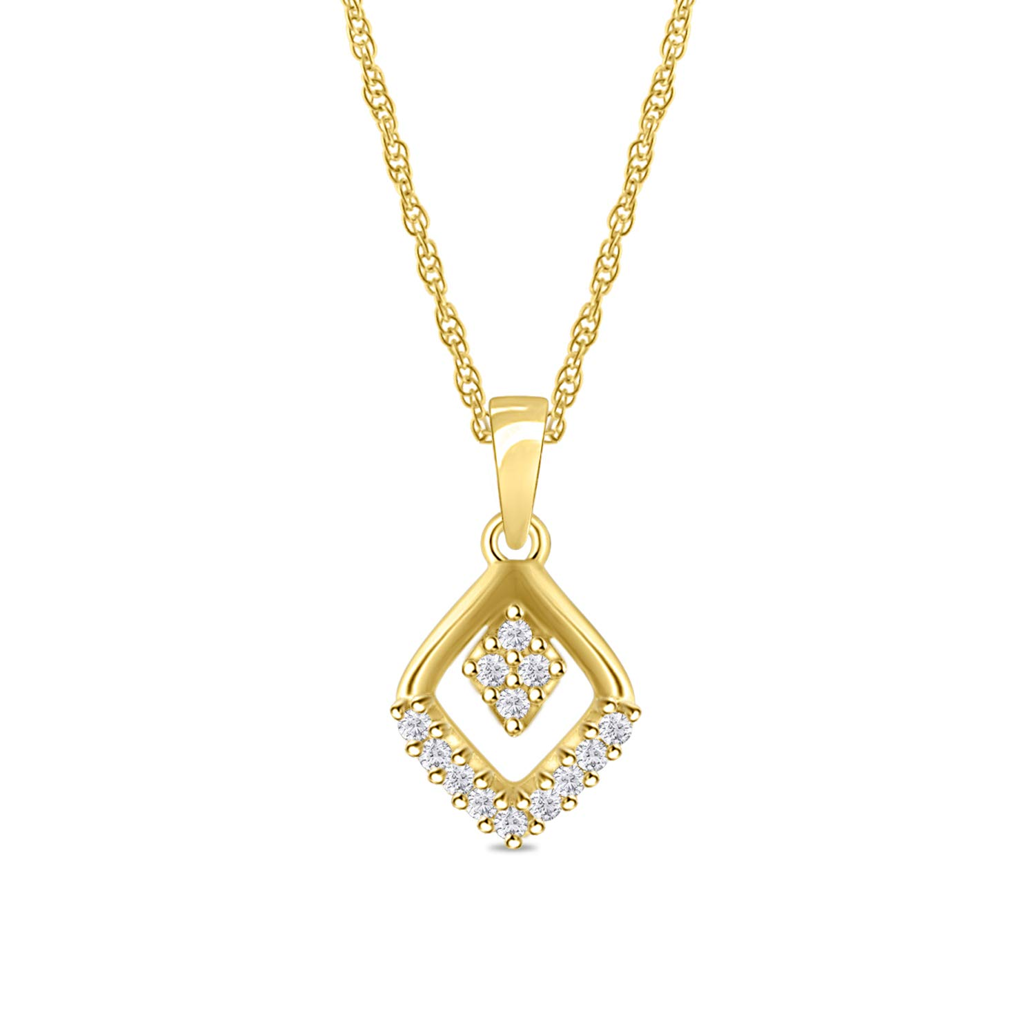 Diamond Scotch Jewelry Round Cubic Zirconia Open Square Cluster Pendant Necklace for Women Girl 14k Gold Plated