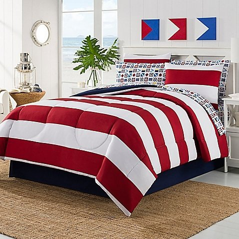 JBFF 8 Piece Bed in Bag Rugby Comforter Set with Cotton Sheet Set, Queen