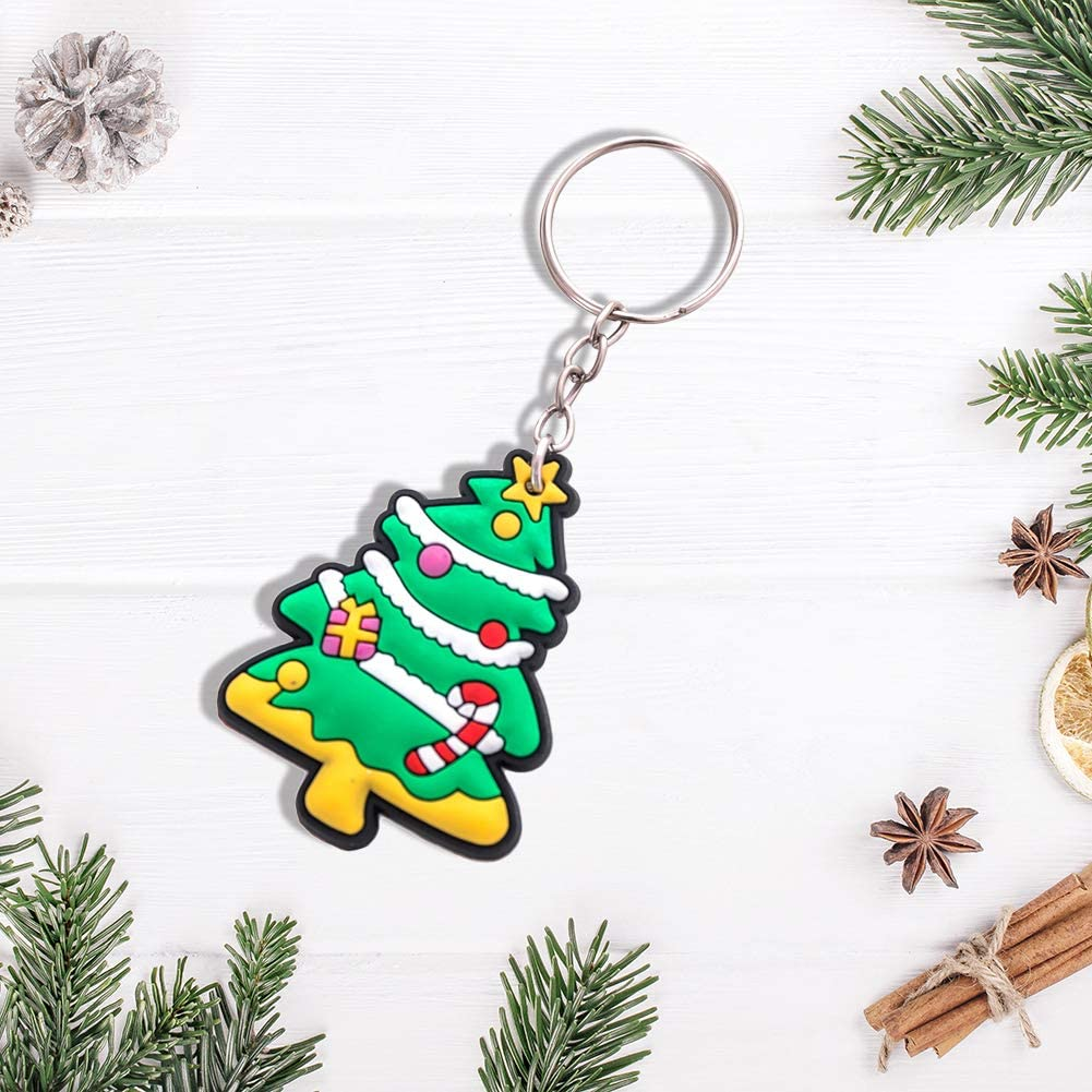 Christmas Keychain Cartoon Santa Claus Keyring Pendant Gifts for Kids and Adults