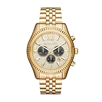874db9c6d1d4 Image Unavailable. Image not available for. Color  Michael Kors Men s  Lexington Gold-Tone Watch MK8494