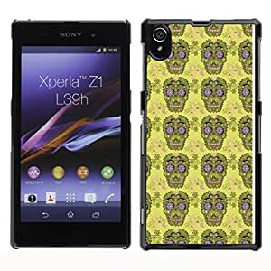 iKiki-Tech Estuche rígido para Sony Xperia Z1 L39H - Green Skull