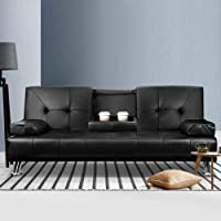 Artiss Sofa Bed Lounge Futon Couch Leather 3 Seater Cup Holder Recliner