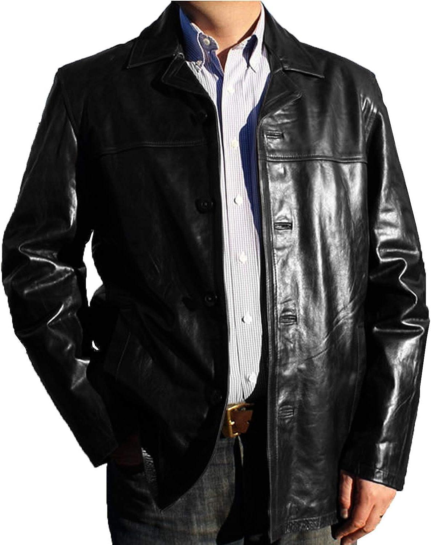 1510832 Lasumisura Mens Black Genuine Cowhide Leather Jacket