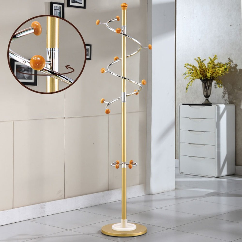 SUNSHINE Coat Rack Metal Stainless Steel Bedroom Pedestal Style Living Room Hanger, Swivel Hook, H185cm ( Color : Gold )