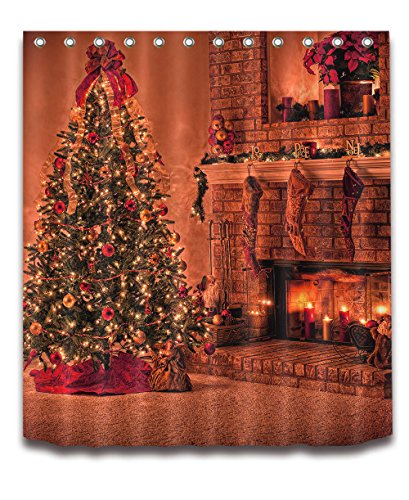"Merry Christmas Season Eve New Year Decorative Decor Gift Shower Curtain Polyester Fabric 3D Digital Printing 72x72"" Mildew Resistant Warm Gold Fireplace Tree Stocking Bathroom Bath Liner Set Hooks"