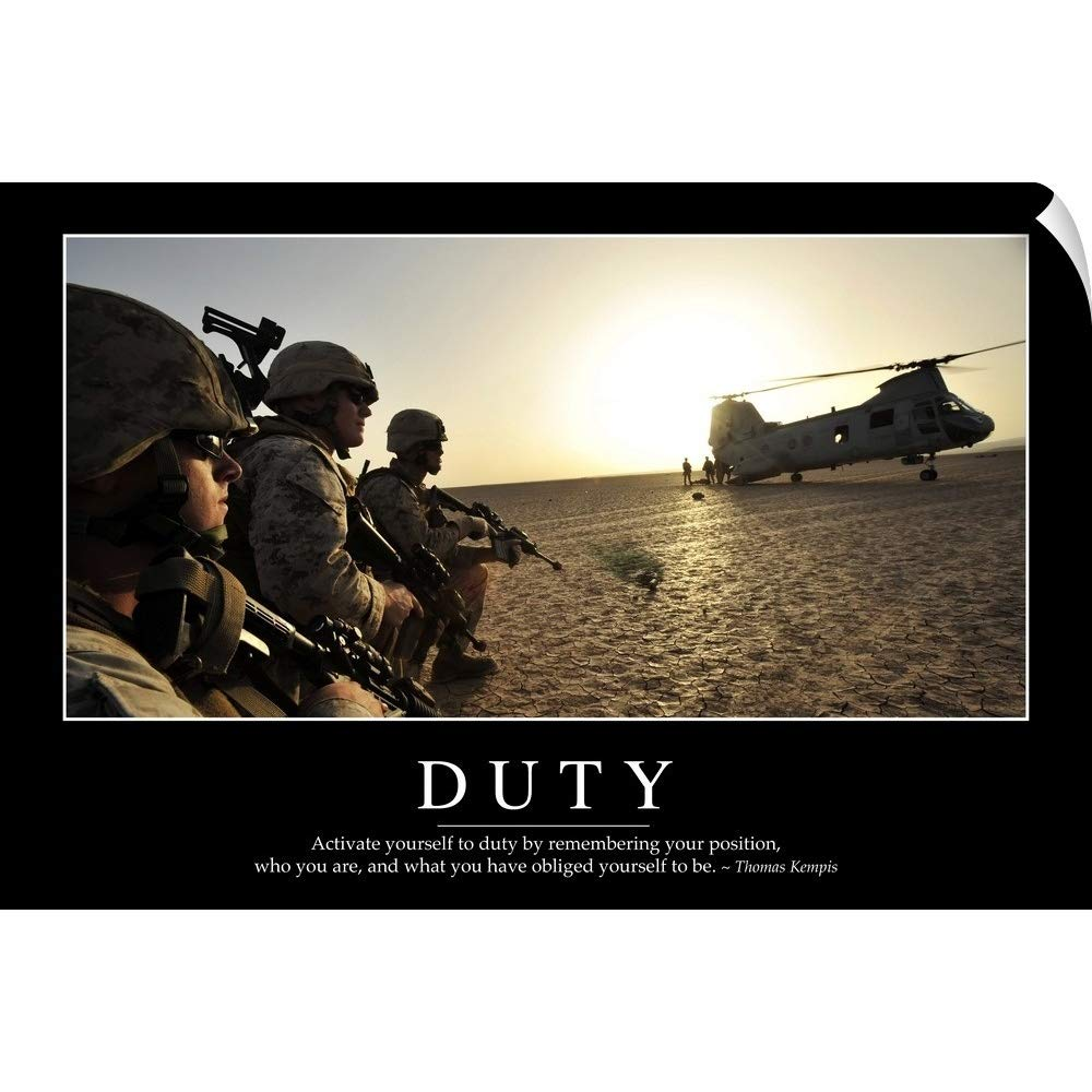 Canvas on Demand Stocktrek Images Wall Peel Wall Art Print Entitled Duty: Inspirational Quote Motivational Poster 30''x20'' by Canvas on Demand