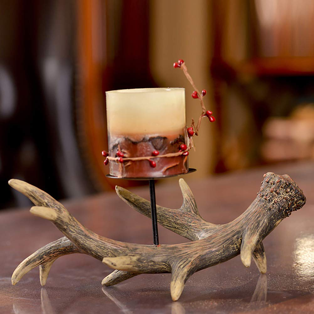 XiYunHan Candle Holders Decoration Luxurious Retro European Style Three Heads Decoration Candlestick Resin Crafts Hand Painted Wax Table American Palace Living Room Dining Table Home Soft Dress