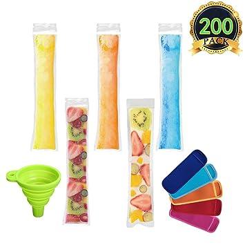 AUTOPkio Bolsas para helados de paletas de hielo, 200 piezas Bolsas para helados de hielo