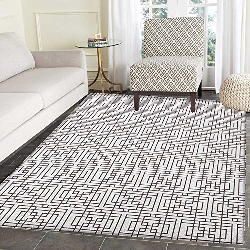 Geometric Area Rug Carpet Grid Pattern with Squares Rectangles Abstract Design Vintage Monochrome Image Customize door mats for home Mat 4'x6' Umber White