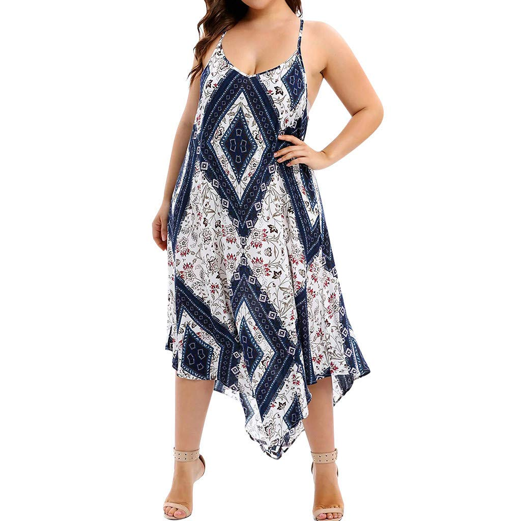 LOMONER Dress for Women Plus Size Summer New Flower Maxi Hand Kerchief Sleeveless V-Neck Dress by LOMONER