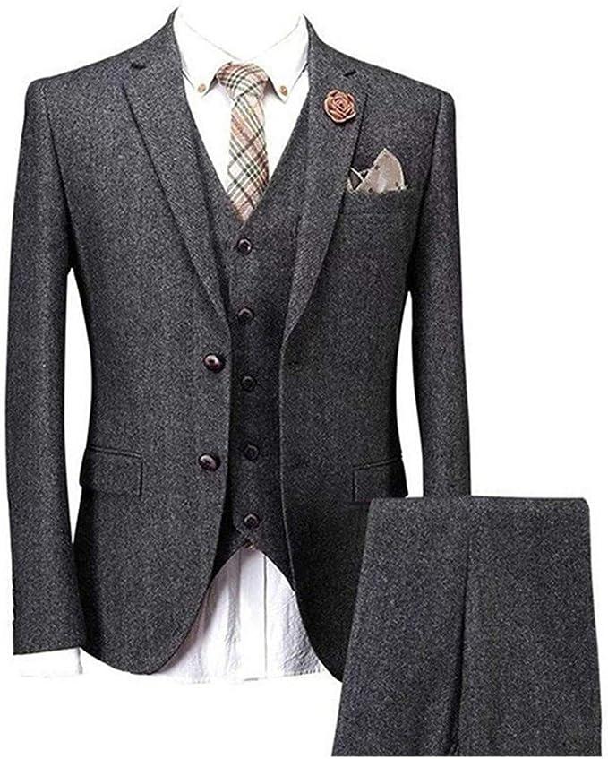 Amazon.com: Solid Charcoal Classic Vintage Tweed Herringbone ...