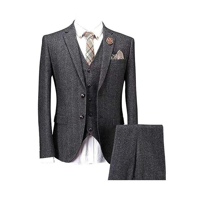 Amazon.com: Yunjia - Traje de lana de tweed clásico, color ...