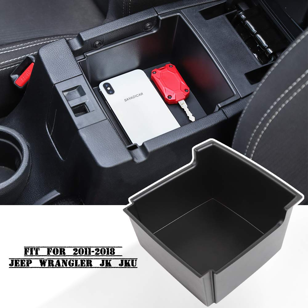 Savadicar JK Center Console Insert Organizer Storage Tray for 2011-2018 Jeep Wrangler JK JKU Armrest Box Secondary Storage Black