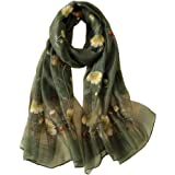 Alysee Women Exquisite Silk&Wool Mixed Embroidered Scarf Headwrap Shawl