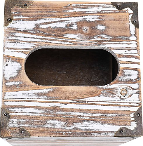 Rusoji Rustic Style Torched Wood Square Facial Tissue Box Holder Cover with Metal Accents, Brown by Rusoji (Image #2)