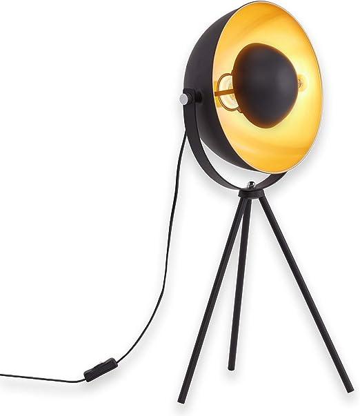 Retro Tischlampe schwarz gold Reflektor schwenkbar Nachttischlampe Flurlampe