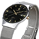 Tamlee Fashion Casual Luxury Brand Mens Analog Quartz Watch Date Steel Mesh Strap Thin Dial Clock