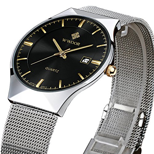 slim watches for men amazon com tamlee fashion casual brand men s quartz watch date mesh steel strap ultra thin dial clock black