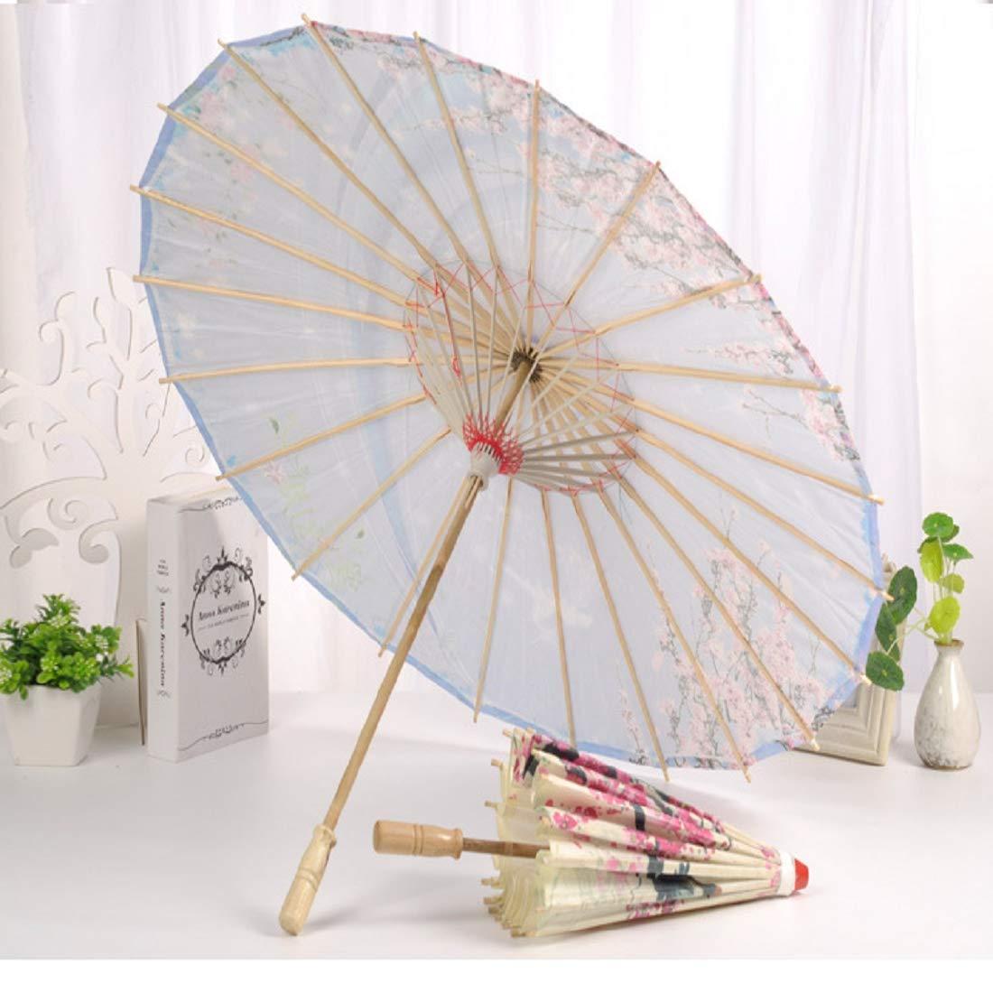 A Vennisa Femme Ombrelle Chinoise Fait /à La Main en Tissu Parapluie Parasol Floral Decoratif Accessoires pour Danse Mariage Anniversaire
