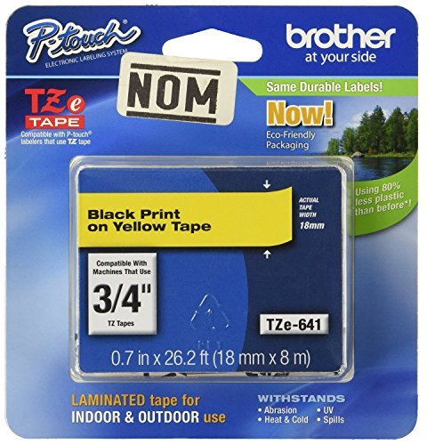 2 Pack Brother Tape, Black on Yellow, 18mm (TZe641) - Retail Packaging
