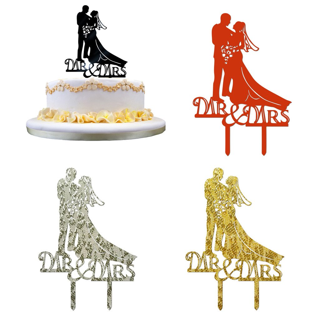 Acrylic Cake Cards,Efaster(TM) Romantic Wedding Cake Topper Insert Card Love Groom And Bride Acrylic Cake Dance (4 Colors)