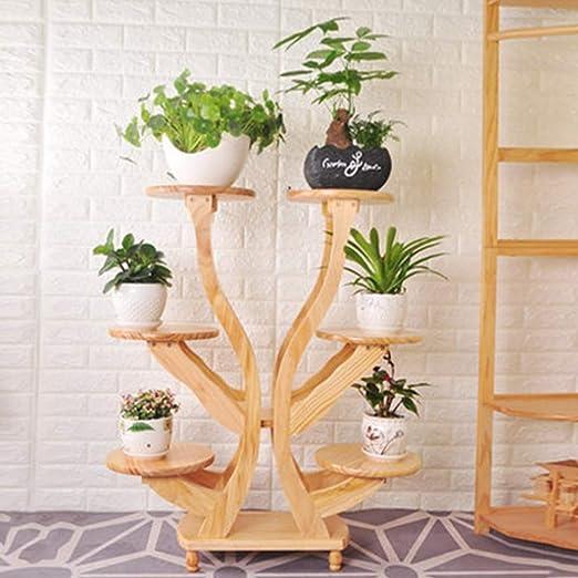 SBS Soporte De Flores Estante Estantería Escalera Estantería Decorativas De Plantas Flores para Decoración Exterior Interior Jardín Expositor Madera, Wood: Amazon.es: Jardín