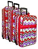 Multi-color Chevron 3-Piece Luggage Set (Red)