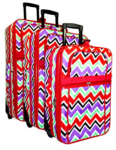 Multi-color Chevron 3-Piece Luggage Set (Red) by Unknown