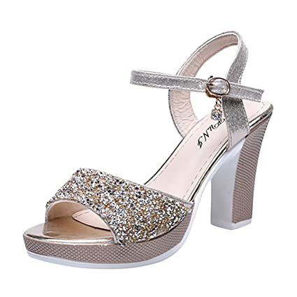 ed6174a3bd00e Amazon.com: YEZIJIN Women Ladies Fashion Bling Crystal Solid Peep ...