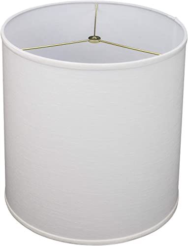 FenchelShades.com 14 Top Diameter x 15 Bottom Diameter x 15 Height Fabric Drum Lampshade Spider Hardware Designer Linen Off White