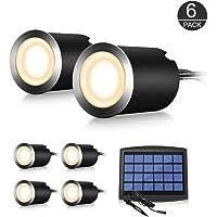 Spots LED Encastrable Extérieur IP65 Acier Inox Dimmable automatique - 0,6W Blanc Lampe Spots de Sol à Encastrer pour Terrasse étanche - Spot à LED Solaire Panneaux Efficace pour Chemin Bassin Piscine (Blanc chaud)