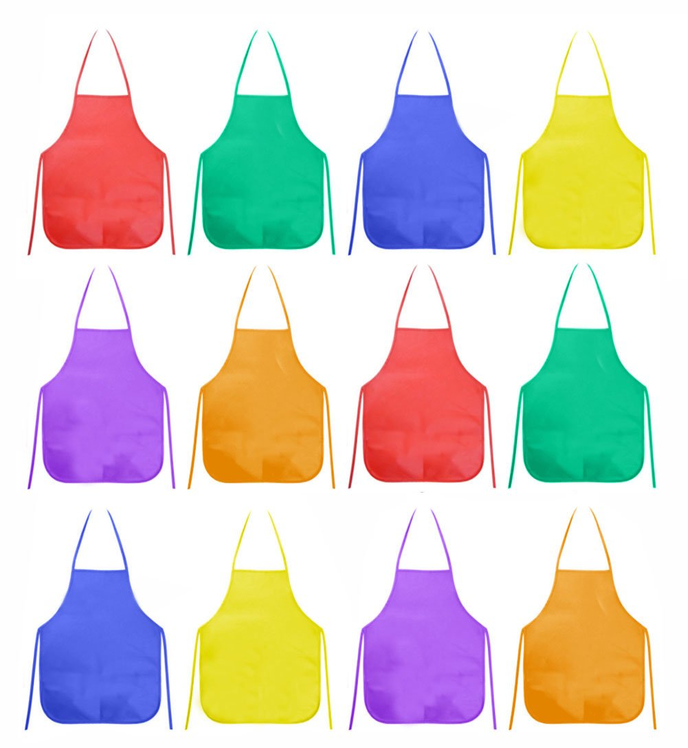 Ancefine Non-Woven Fabric Children's Smock Artist Panting Aprons ,6 Color,12-Pack 4336945875