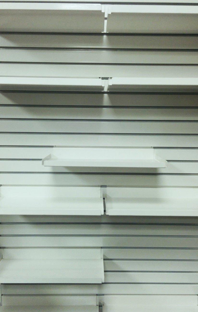 Metal Slatwall Shelf - 7.5'' D x 46.5'' L Heavy Duty Steel Shelving with .5'' Lip - Ivory, 10 Pack