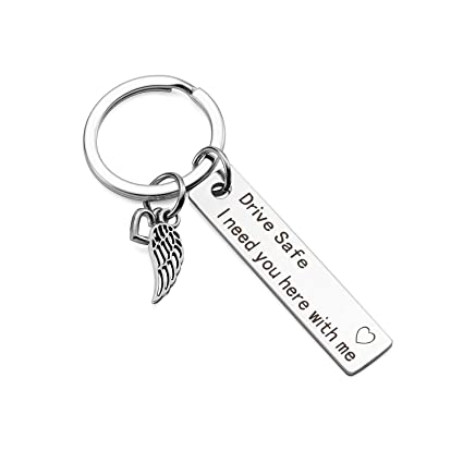 DSTHISAR Drive Safe Keychain Handsome I Love You Trucker Husband Gift for  Husband dad Gift Valentines Day Stocking Stuffer, Birthday Gifts (Angel