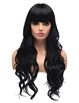 BESTUNG Long Curly Wavy Wigs for Women Ladies Synthetic Full Hair Natural  Black Brunette Wig with 82a4238d8