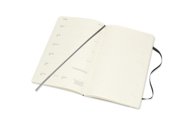 Moleskine 2019 - Cuaderno semanal de tapa blanda, 12 meses, color negro