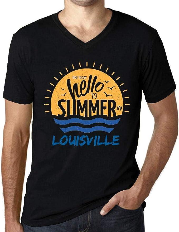 Hombre Camiseta Vintage Cuello V T-Shirt Gráfico Time To Say Hello To Summer In Louisville Negro Profundo: Amazon.es: Ropa y accesorios
