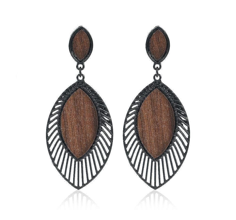 JOYID Wood Waterdrop Dangle Earrings Leaf Shape Veins Unique Jewelry for Women Girls