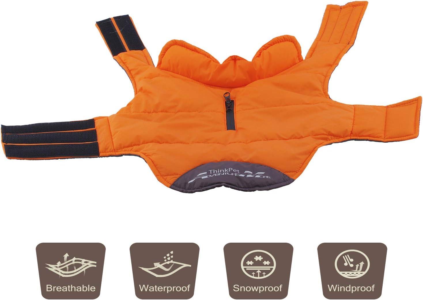 ThinkPet Soft Touch Waterproof Jacket Highly Visible Reflective Dog Vest XXXL Orange Warm Winter Dog Coat