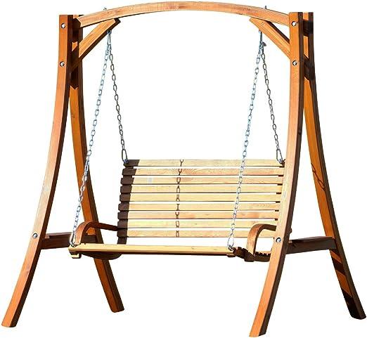 Diseño oscilación del jardín porche columpio hamaca modelo de alerce madera: Kuredo-OD: Amazon.es: Jardín