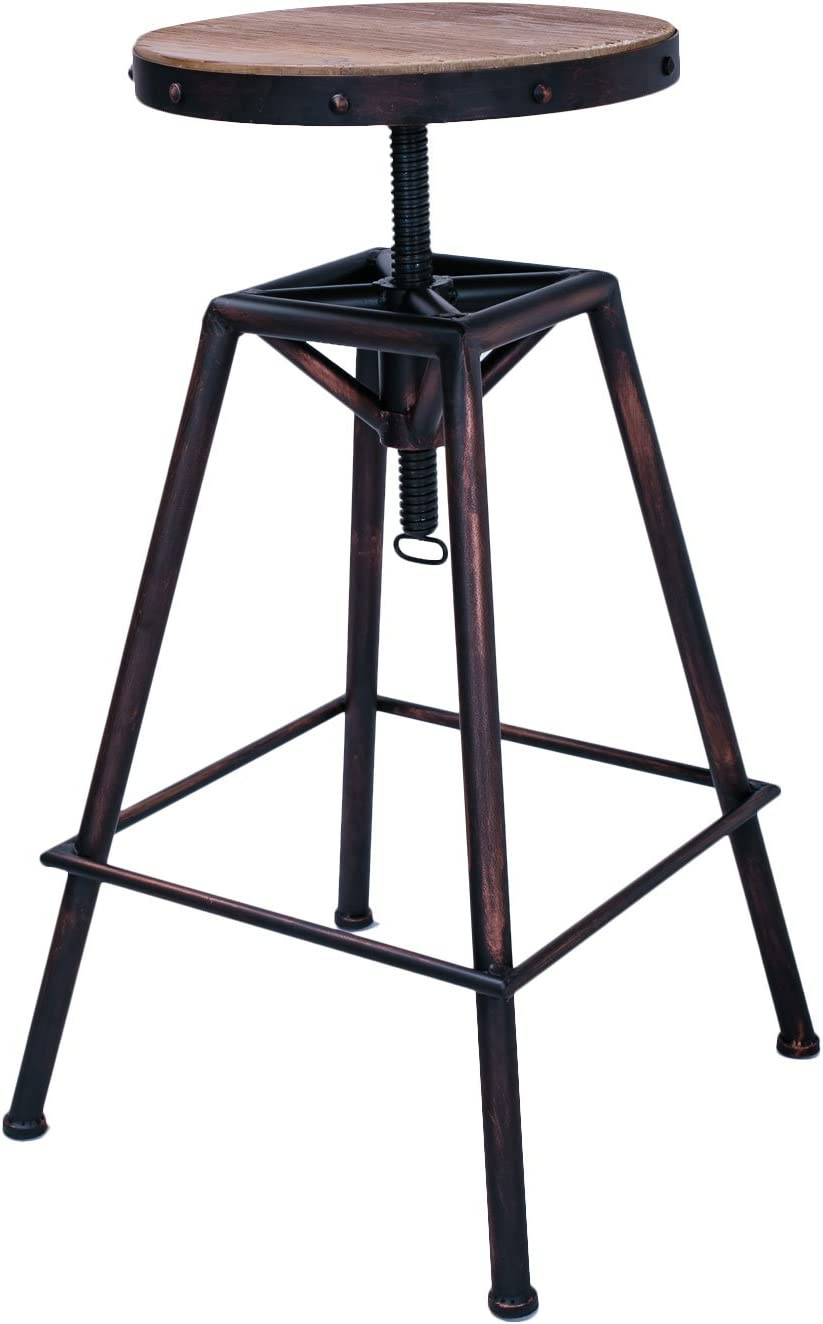 Joveco Metal Bar Stool Barstool Adjustable Height with Wooden Top, Unique Retro Vintage Antique Style