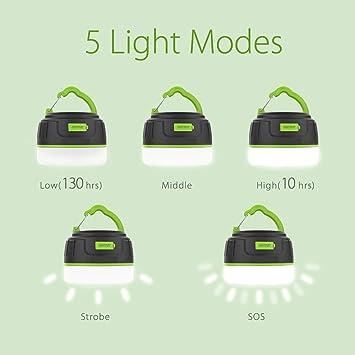 Excursi/ón Impermeable Lampara Camping Port/átil con Imanes y Gancho 5 Modos Monta/ña Jard/ín SP-Cow L/ámpara de Camping Luz de Emergencia para Pesca Patio LED USB Recargable 5200 mAh
