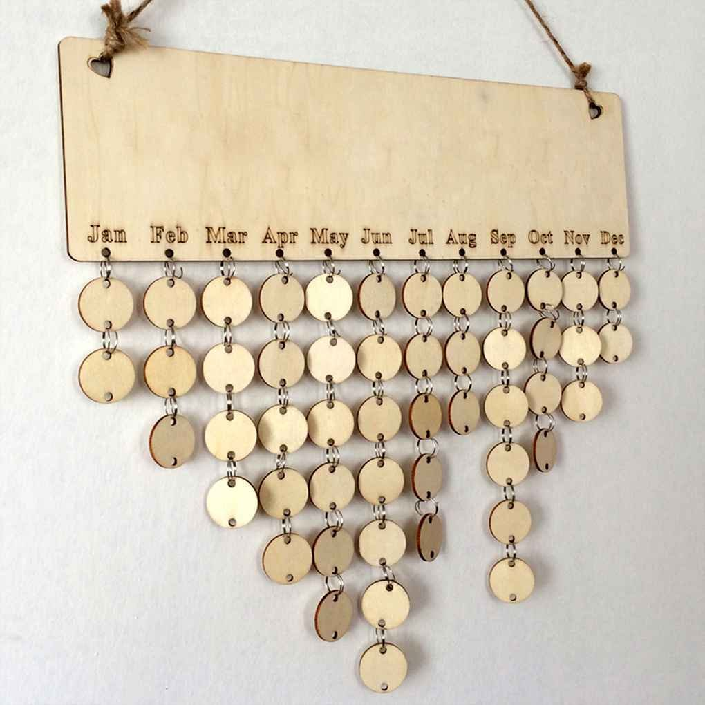 Cocoray Hanging DIY Wooden Blank Calendar Kalendar Reminder Board Plaque Sign House Decoration Pendant Tag by Cocoray (Image #2)